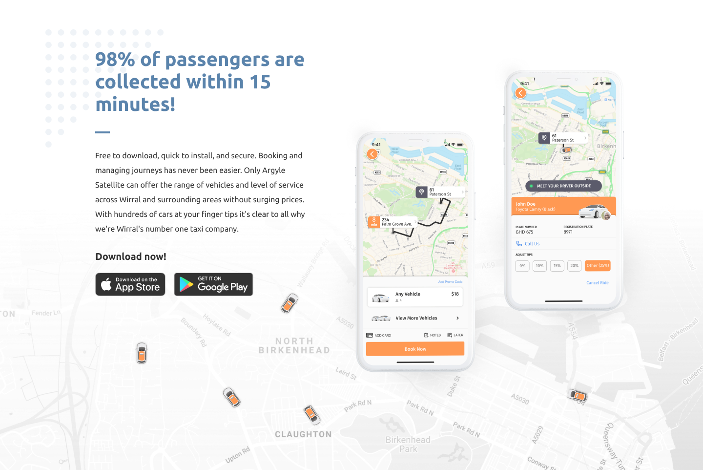 Argyle Satellite Taxis App, Wirral Private hire car with taxi door sign. Operating 24 hours a day, 7 days a week across Wirral, Liverpool, Cheshire West and Chester 0151 201 0001 or 0151 201 1111