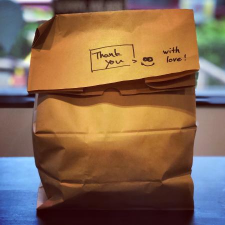 Brown paper, food delivery tkeaway